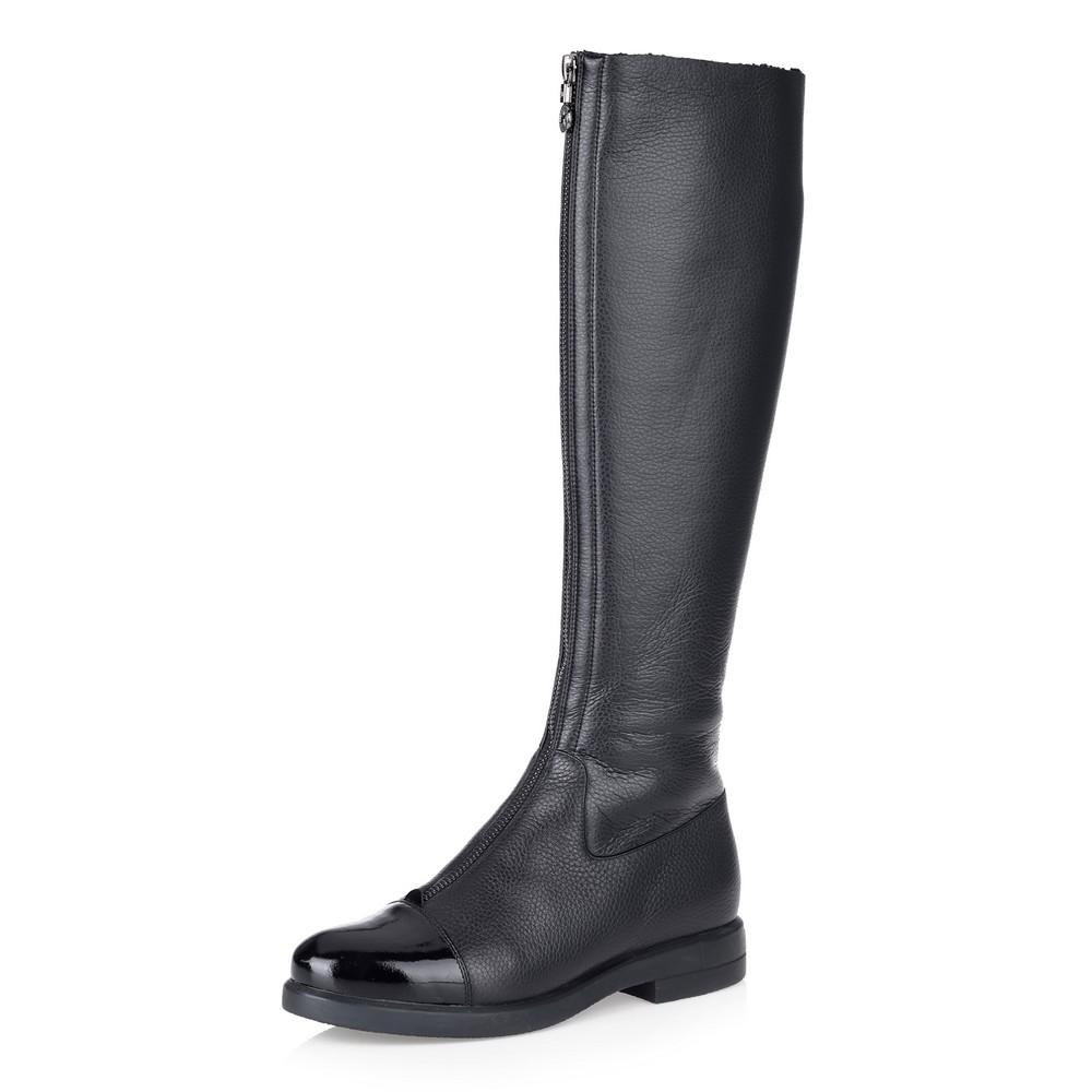 Купить со скидкой Черные кожаные сапоги на меху