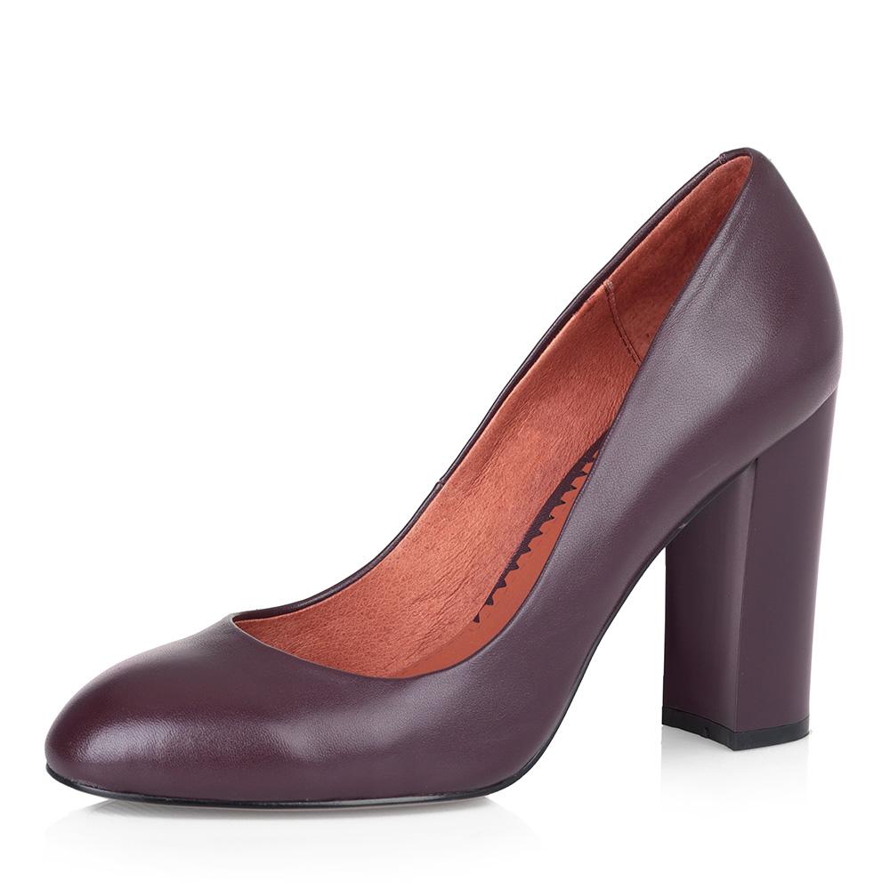 Бордовые туфли-лодочки на высоком каблуке фото