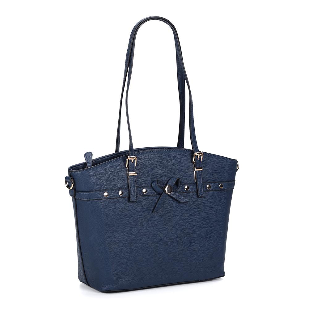 Синяя вместительная классическая сумка с бантиком фото