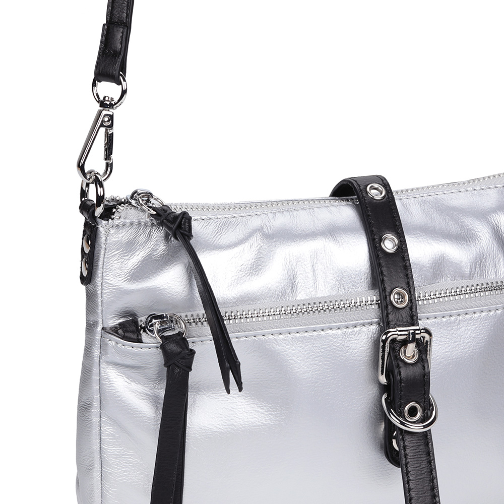 Серебряное кроссбоди с черными ремешками фото