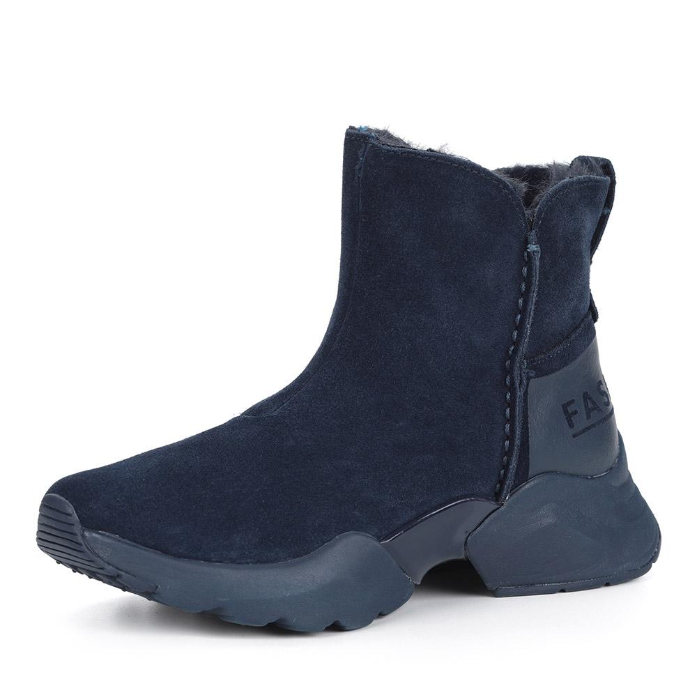 Синие ботинки из велюра на утолщенной подошве