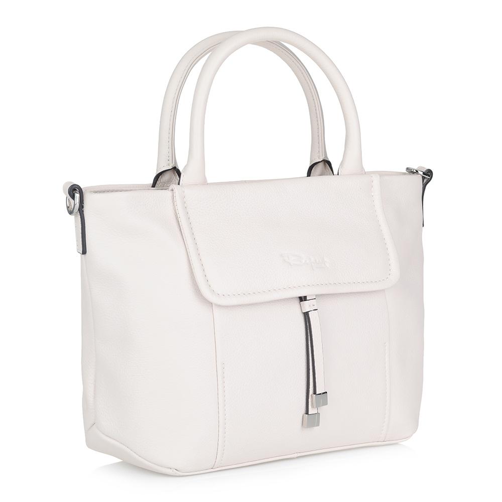 Белая классическая сумка с дополнительной ручкой фото