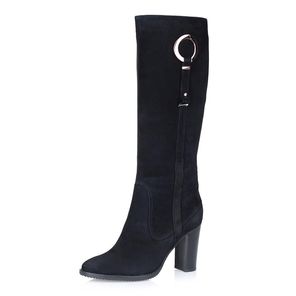 Черные сапоги из велюра на высоком каблуке