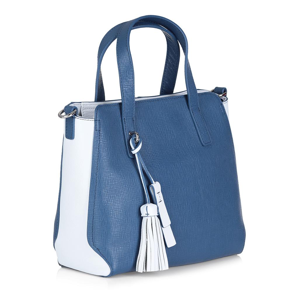 Бело-голубая кожаная сумка с дополнительной ручкой фото