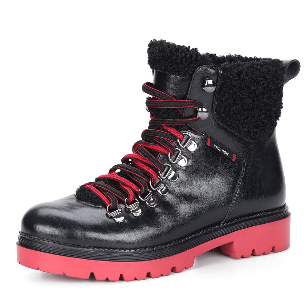Черные кожаные ботинки на шерсти