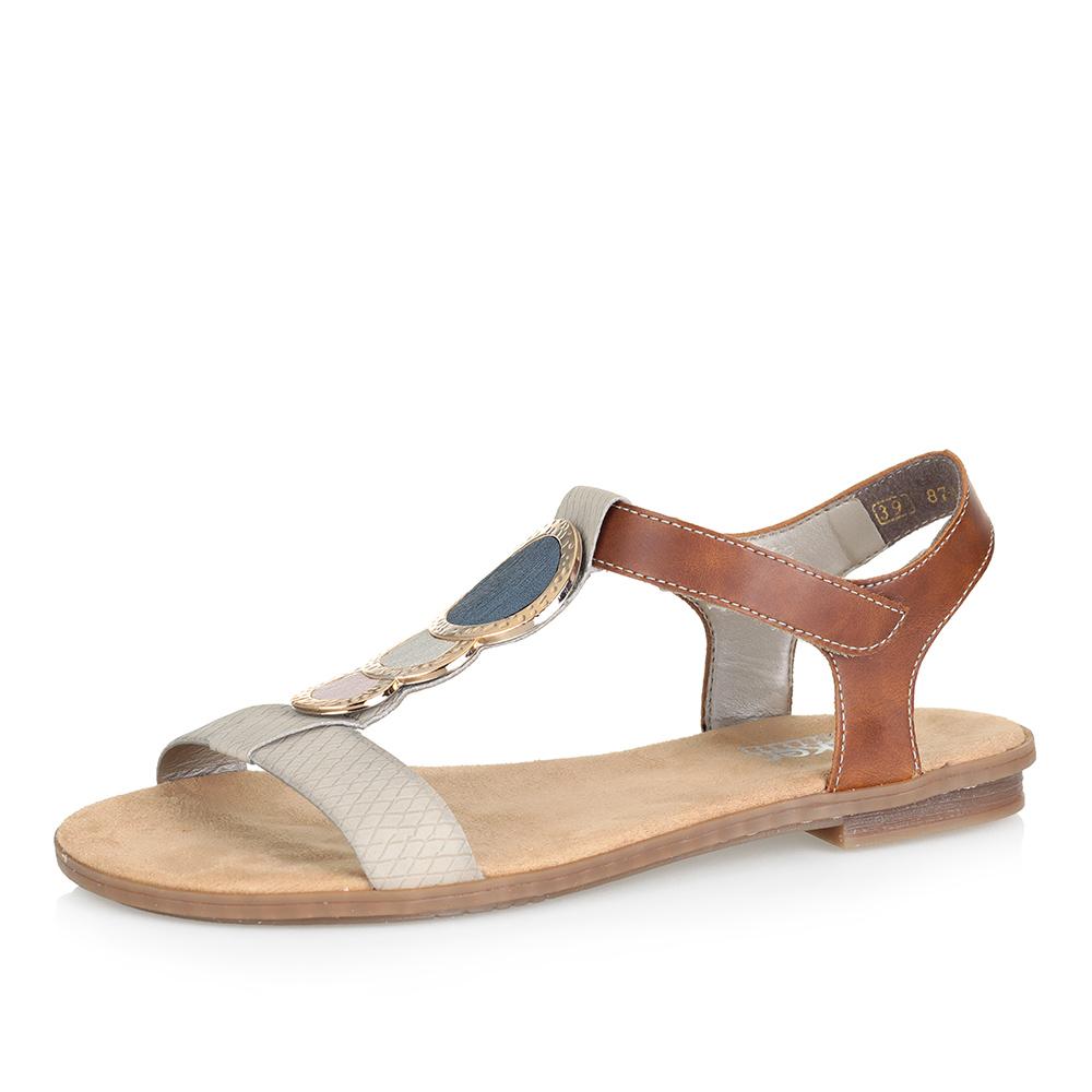 Бежевые сандалии с декором фото