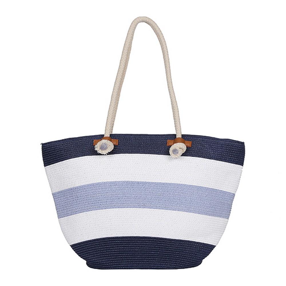 Пляжная вместительная сумка в полоску фото