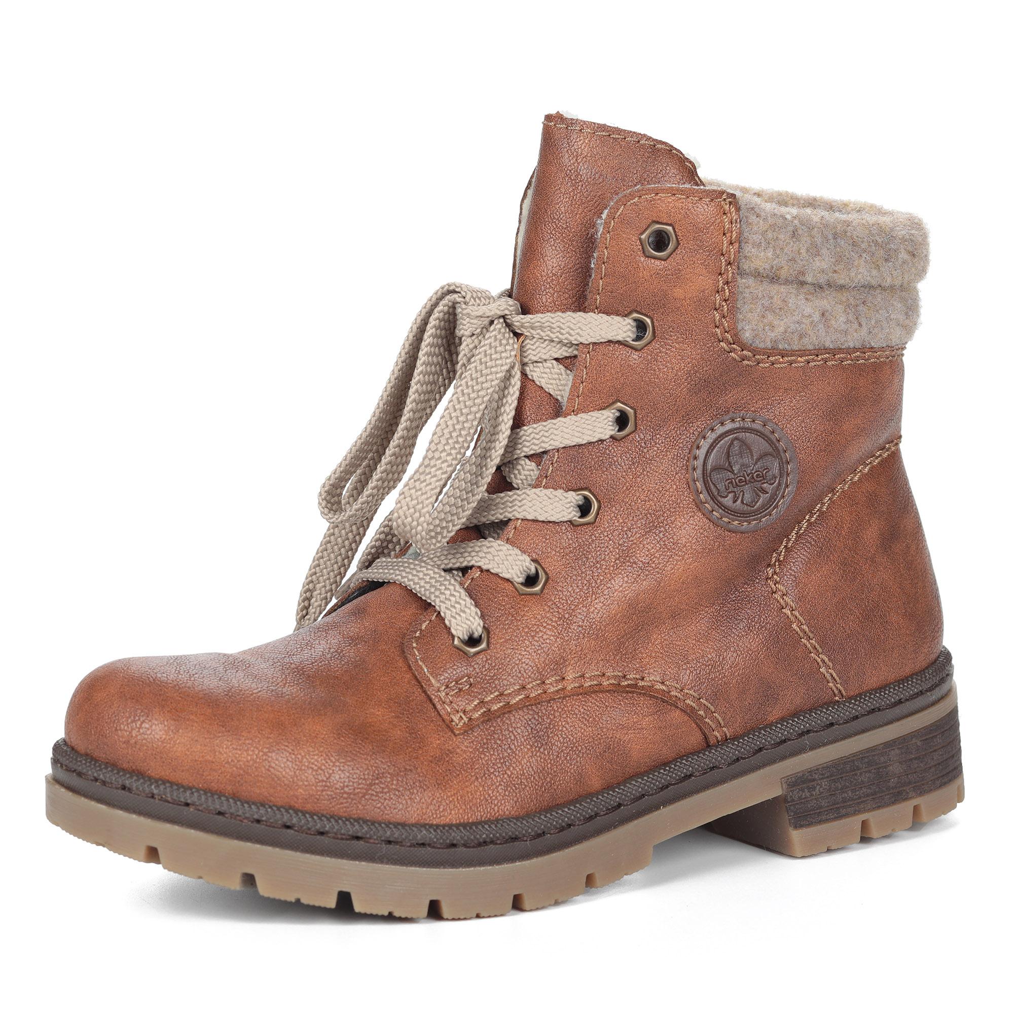 Коричневые ботинки из экокожи на шнуровке