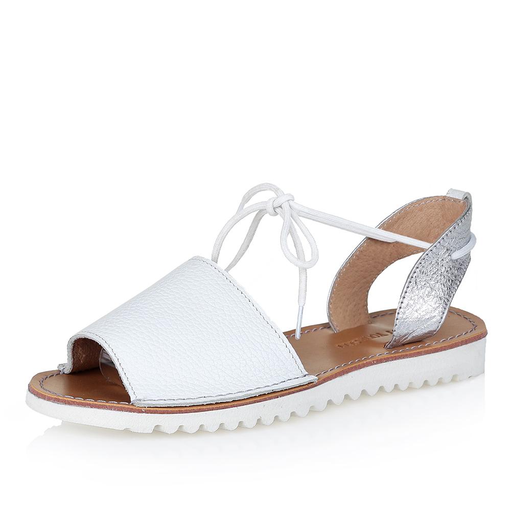 Купить со скидкой Белые кожаные сандалии с завязками