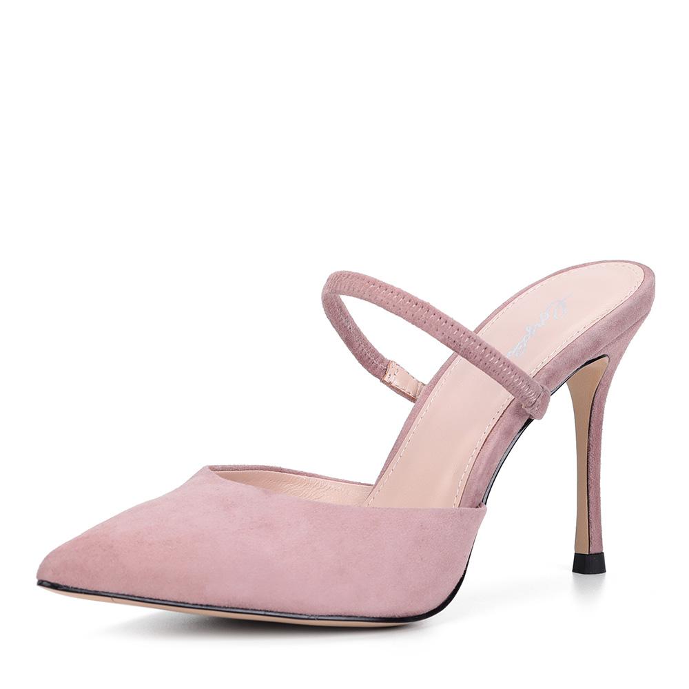 Розовые велюровые туфли без пятки с ремешком фото