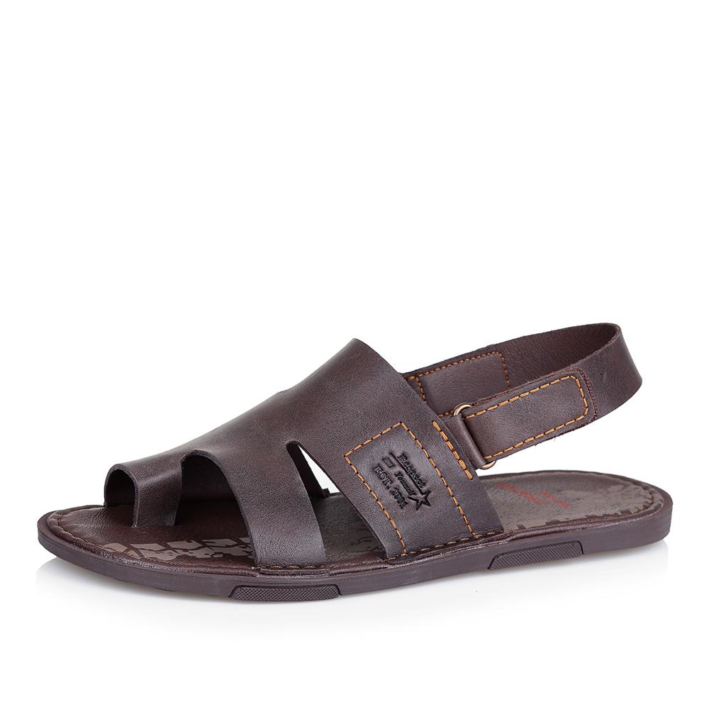 Коричневые кожаные сандалии фото