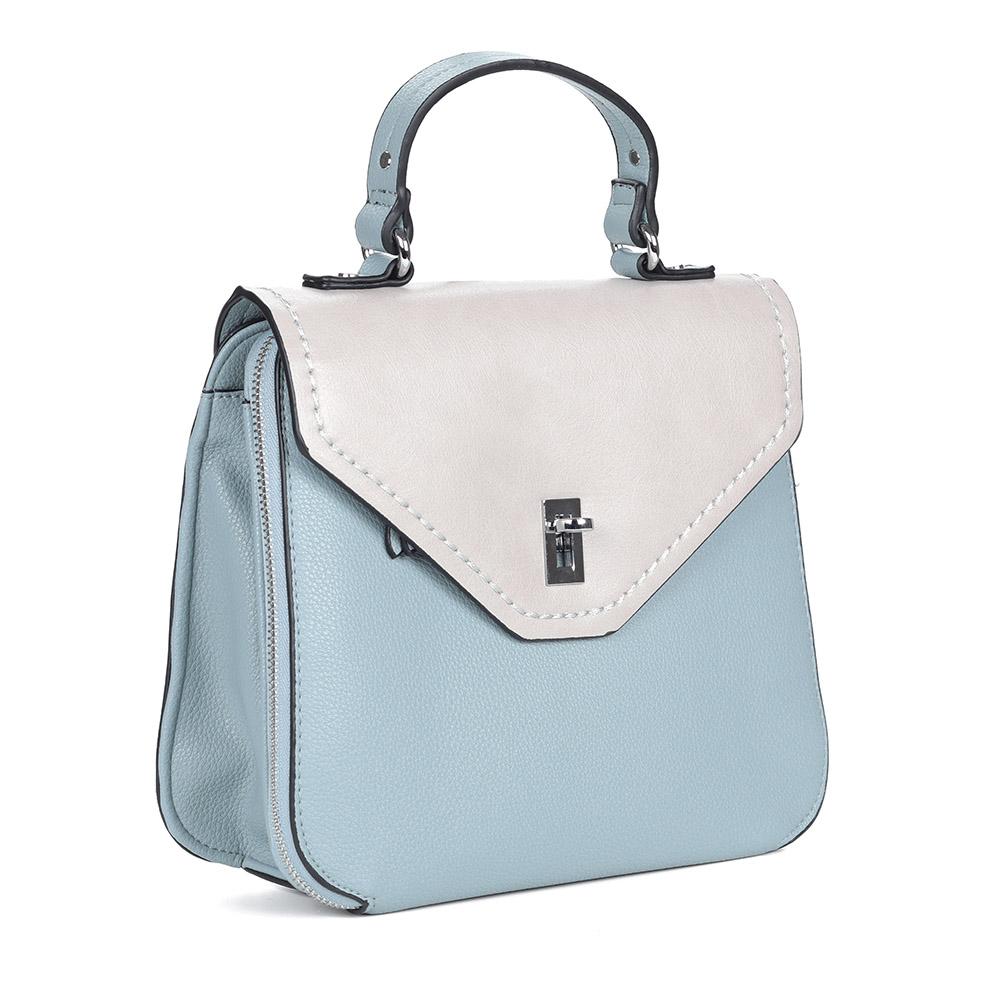 Бело-голубая сумка с дополнительной ручкой