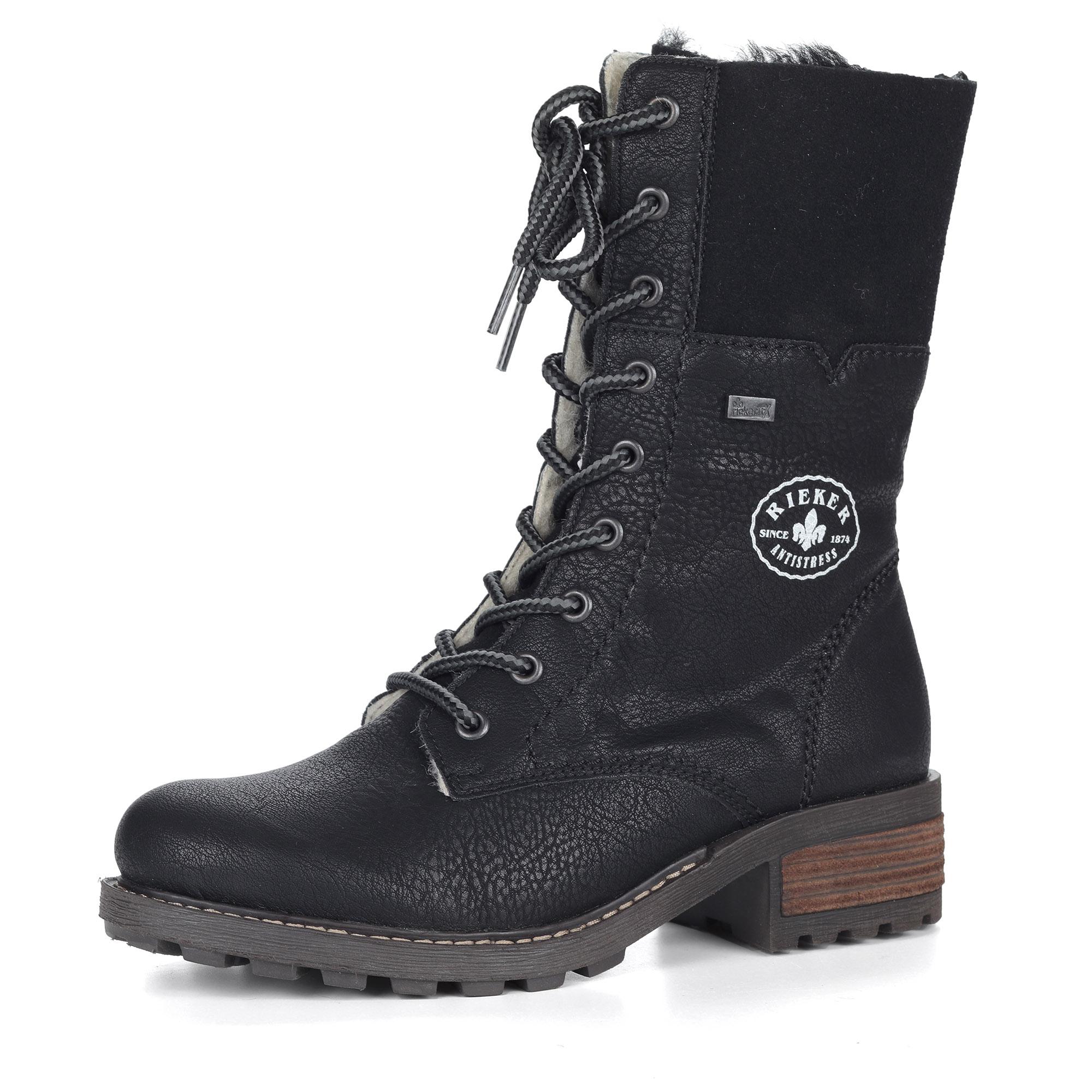 Высокие черные ботинки на шнуровке