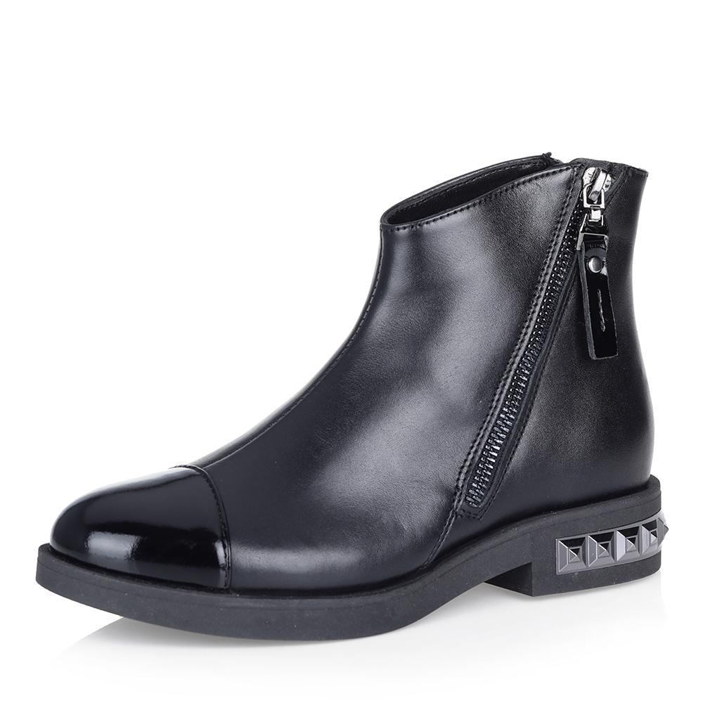Черные ботинки с декорированным каблуком фото