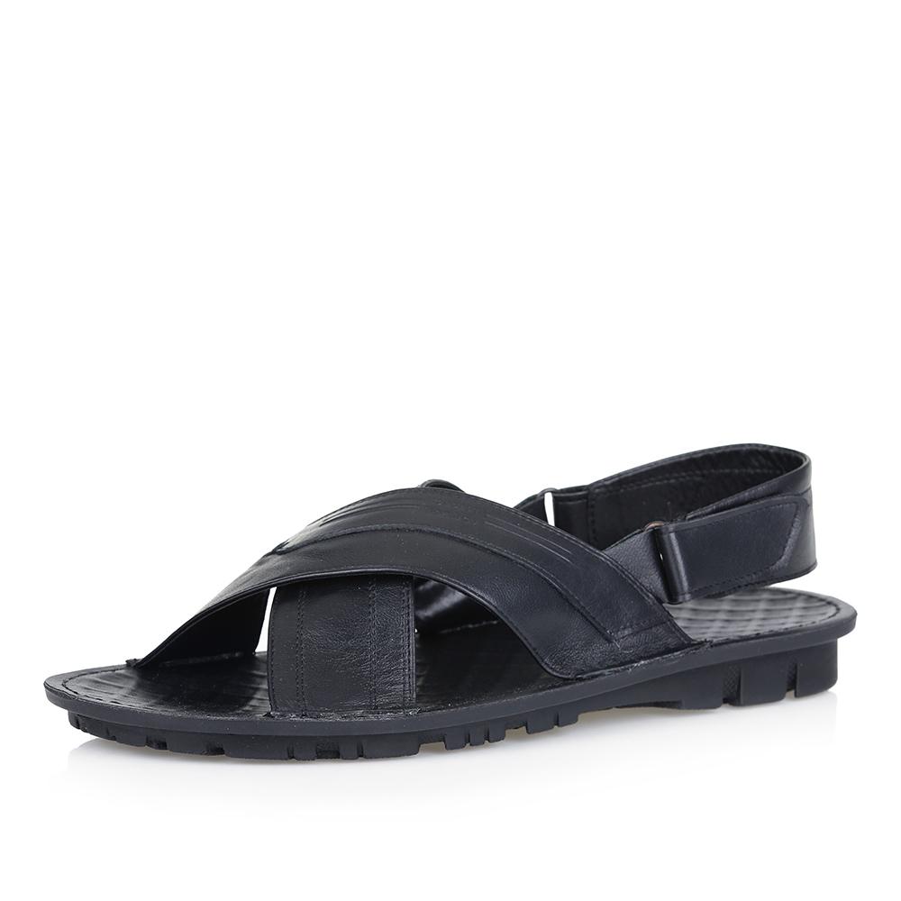 Купить со скидкой Кожаные сандалии в черном цвете
