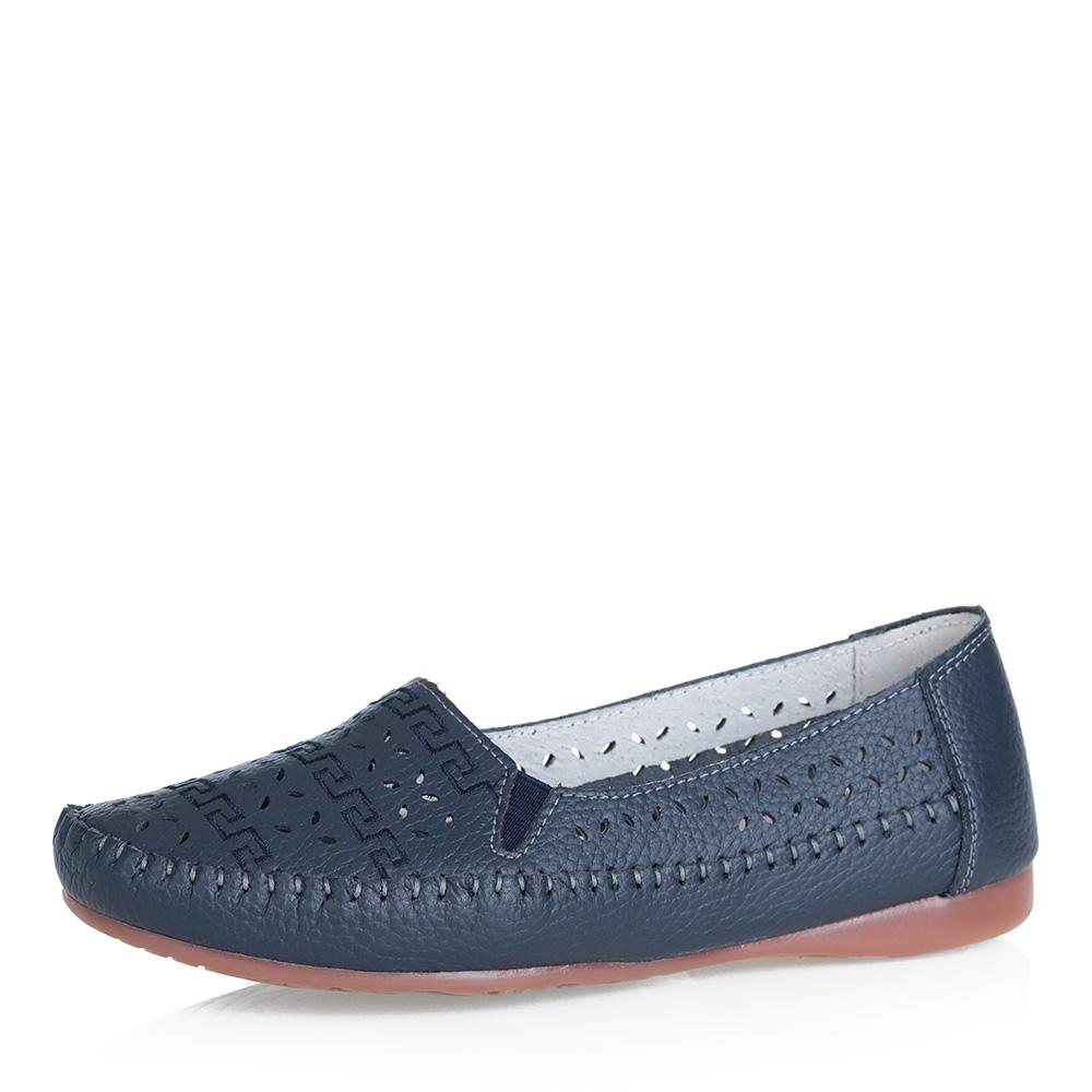 Синие кожаные туфли с перфорацией