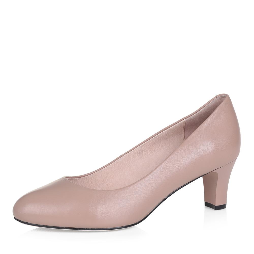Бежевые кожаные туфли-лодочки