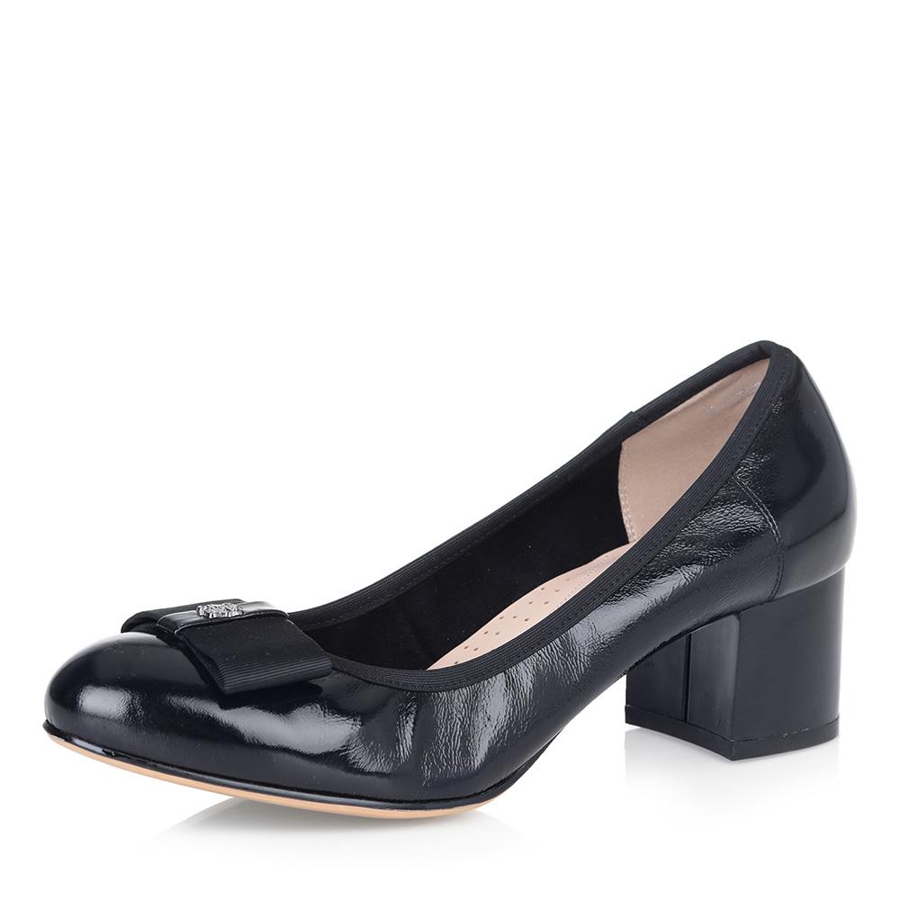 Черные туфли-лодочки на устойчивом каблуке фото