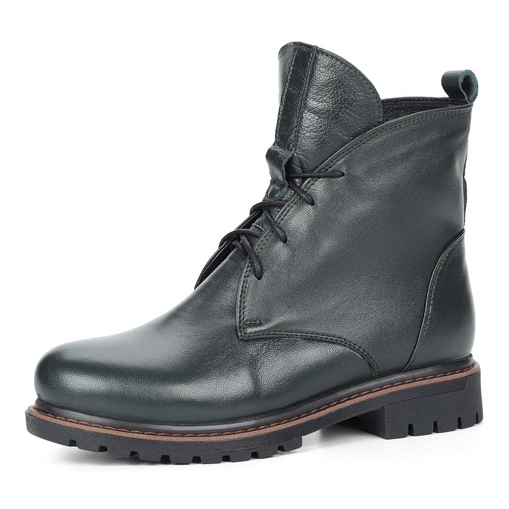 Зеленые ботинки из кожи на шнуровке