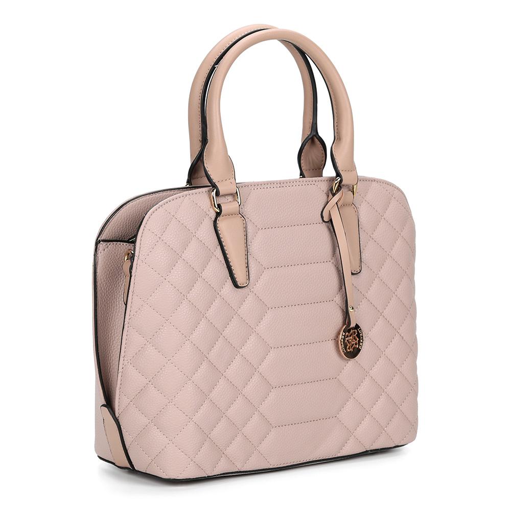 Розовая сумка с брелоком фото