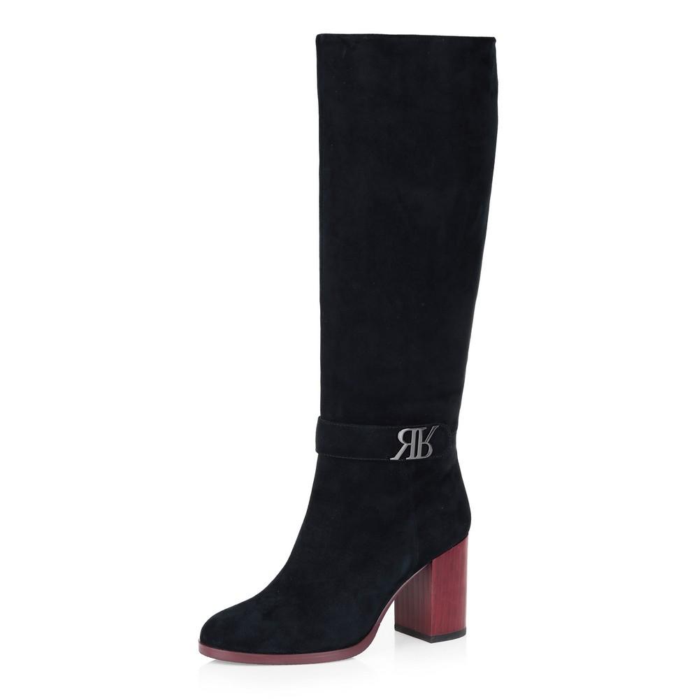 Купить со скидкой Черные сапоги на контрастном каблуке
