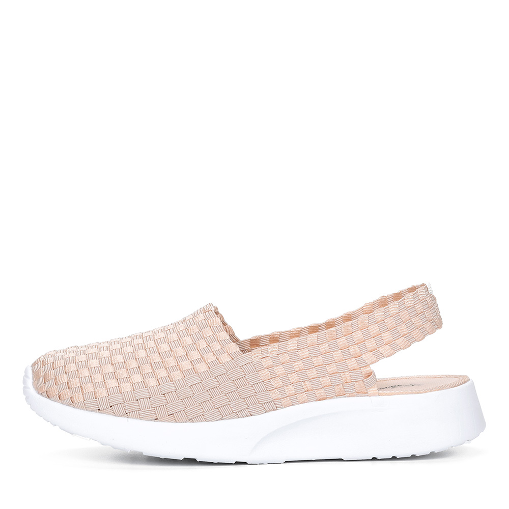 Бежевые текстильные открытые туфли1