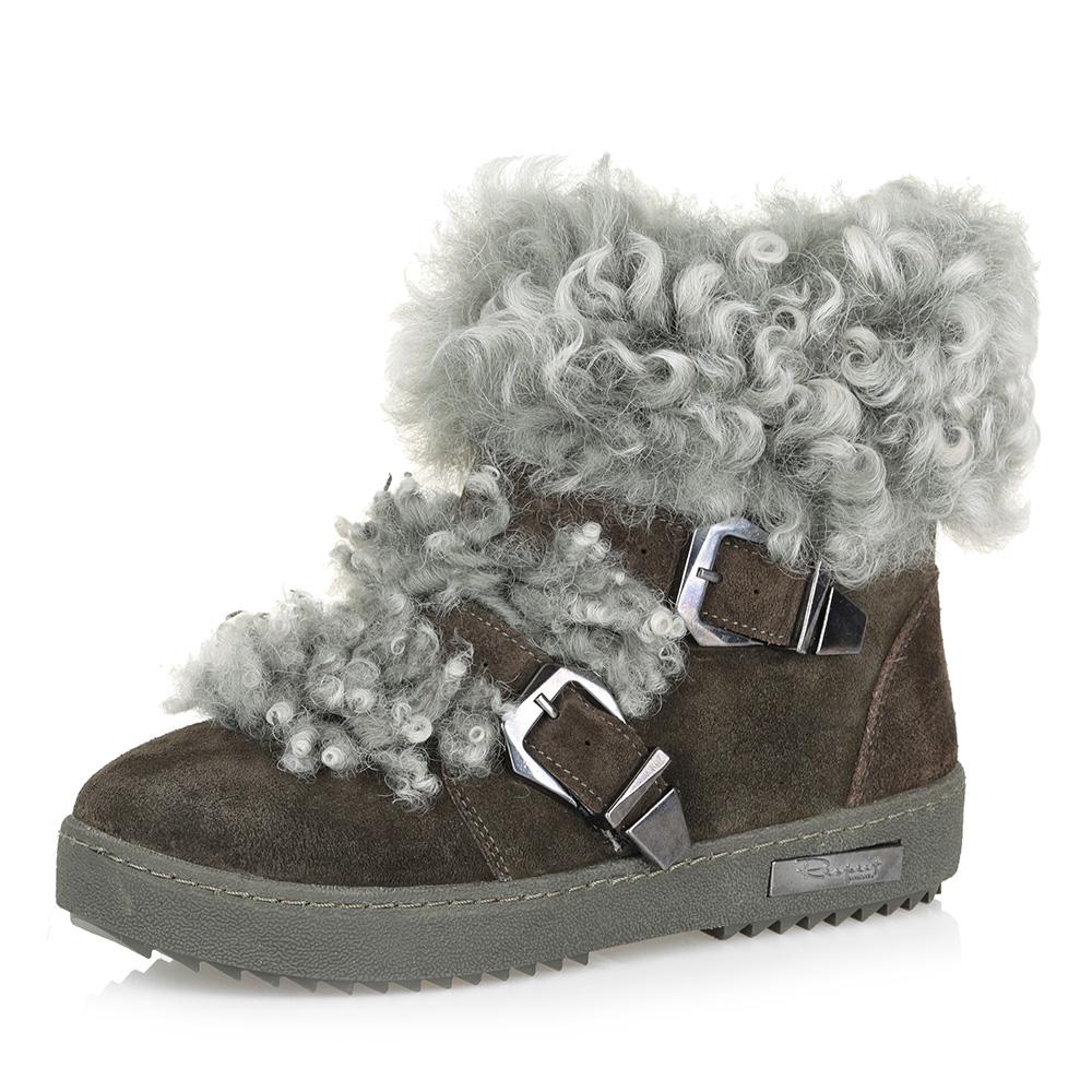 Зеленые комфортные ботинки на меху