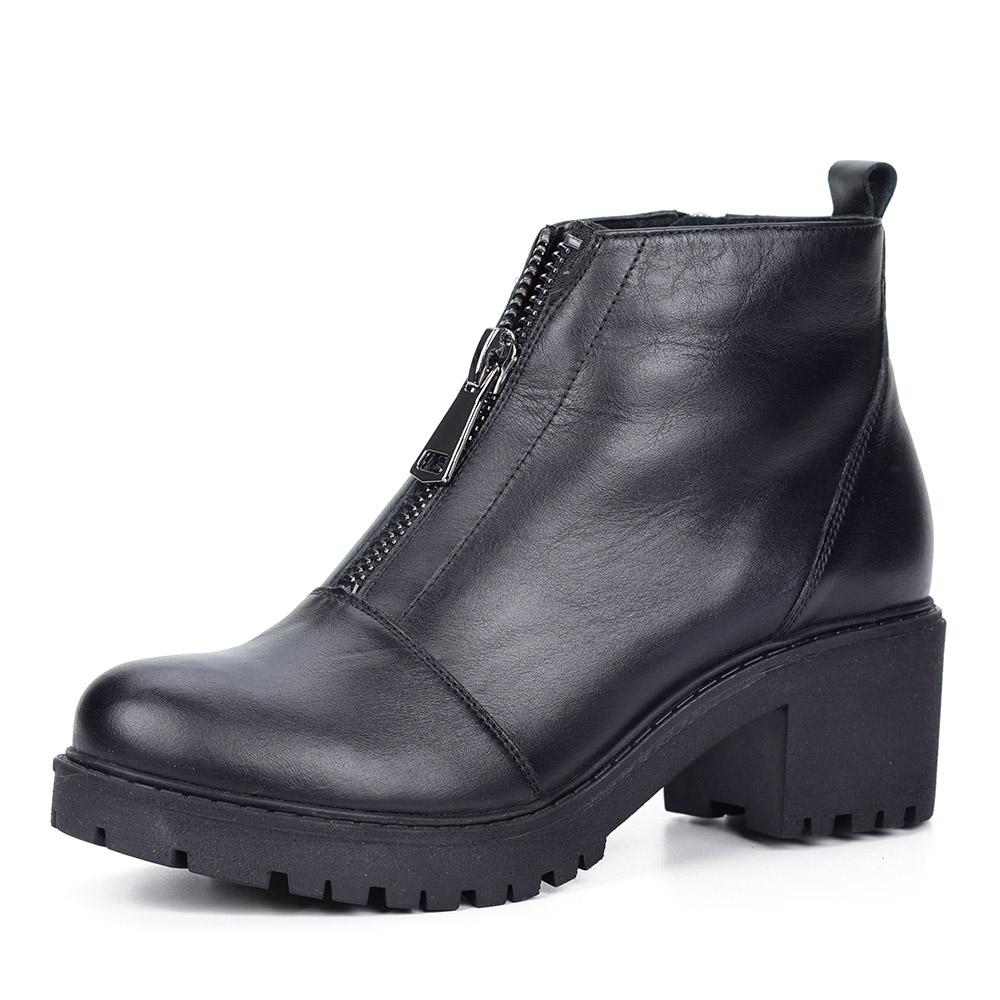Черные ботинки на тракторной подошве на каблуке