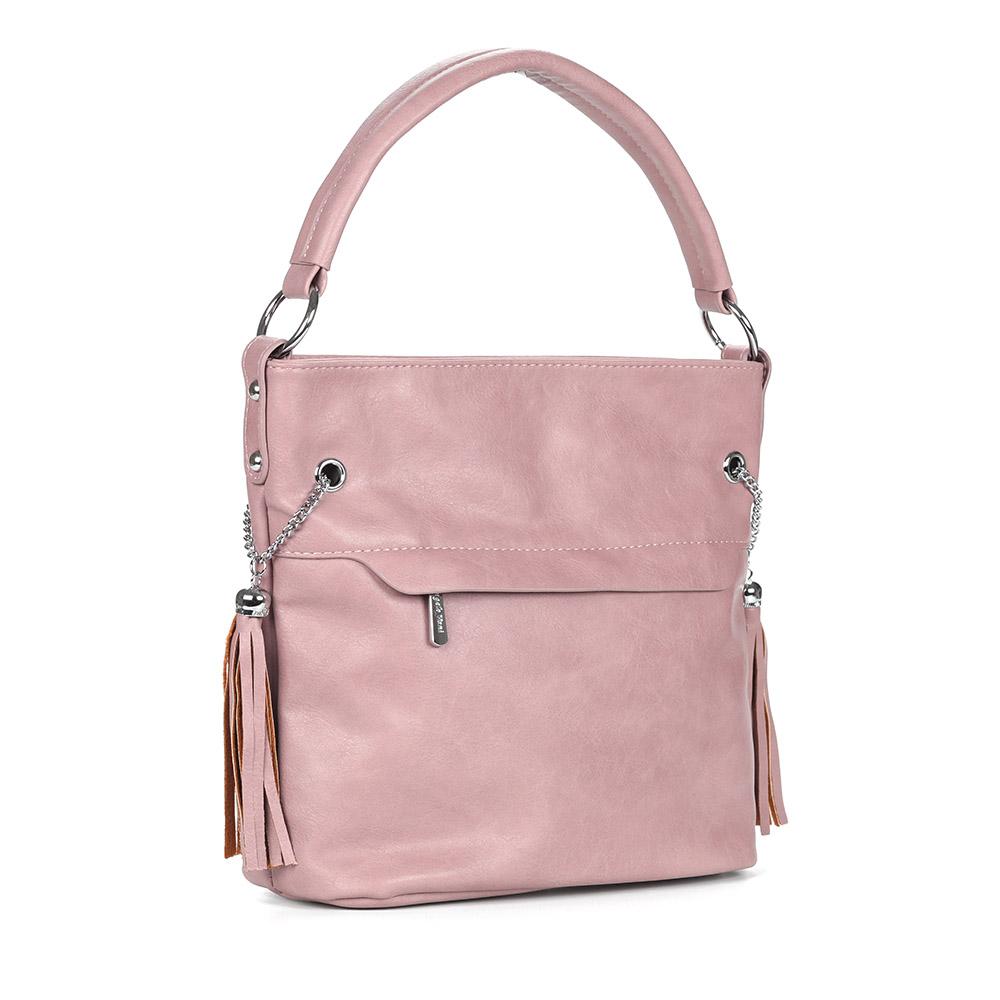 Розовая вместительная сумка на плечо