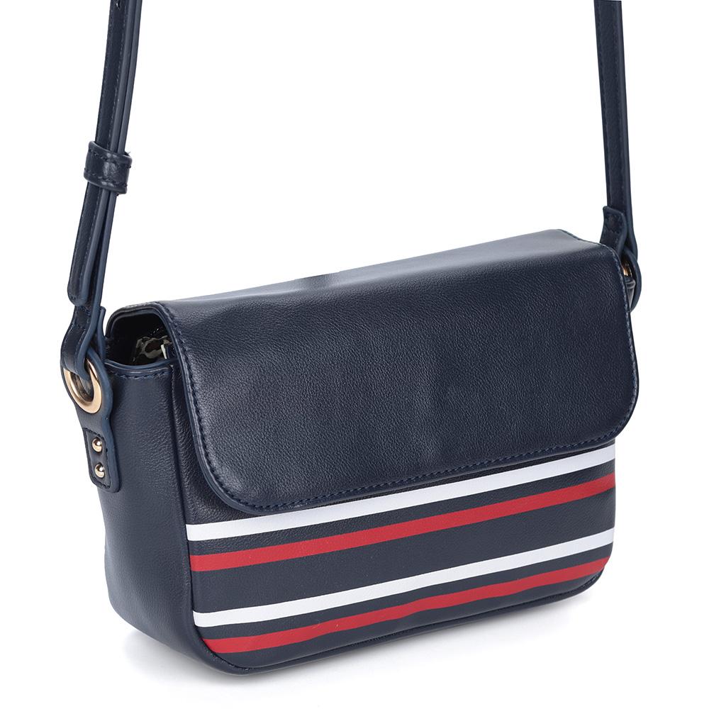 Небольшая сумка на длинной ручке в сине-красно-белом коллоре фото