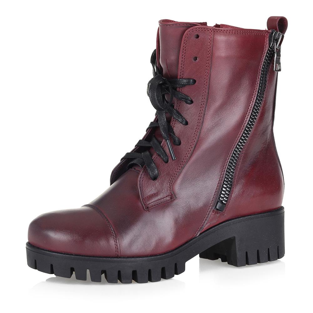 Бордовые ботинки на высокой шнуровке