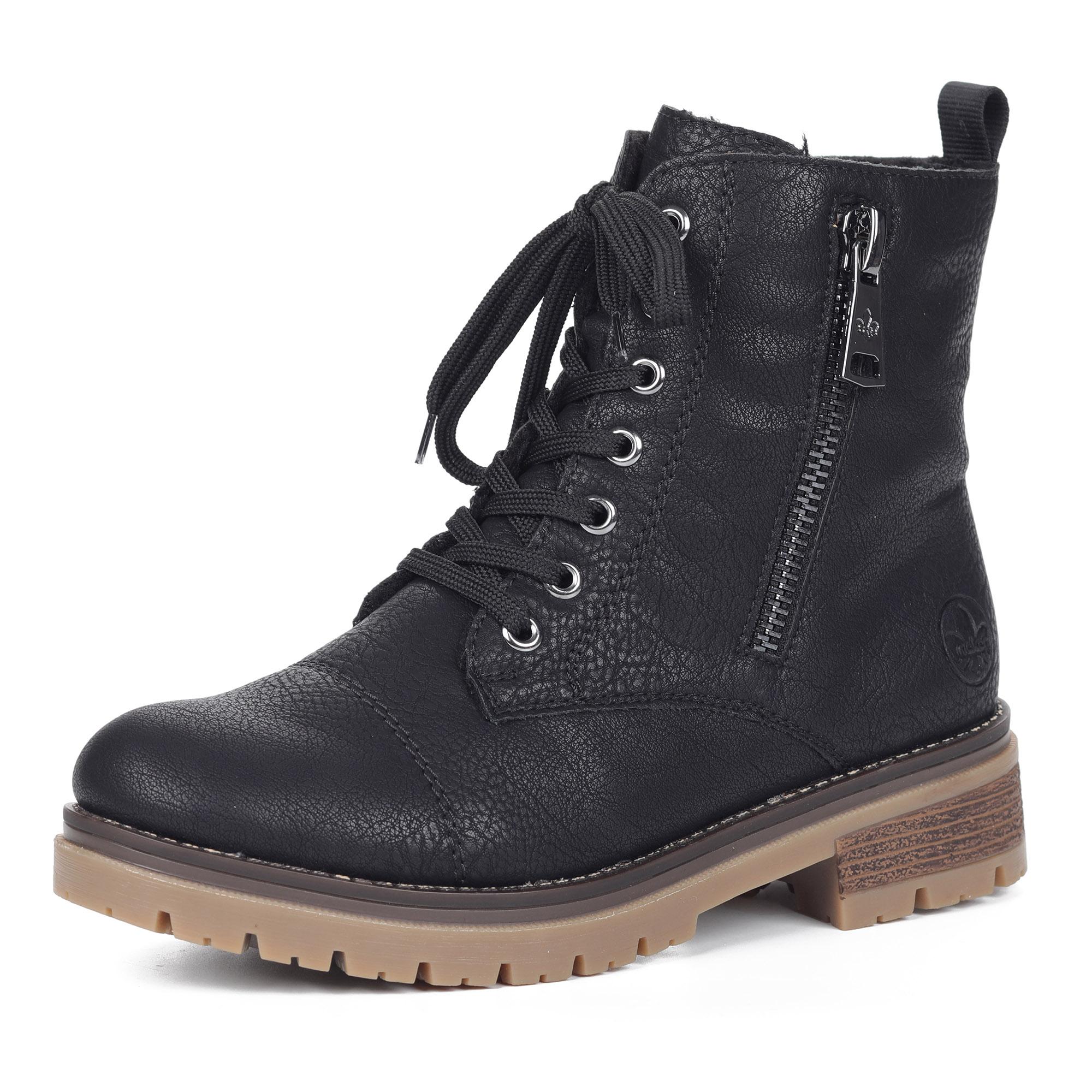 Черные ботинки из экокожи на шнуровке