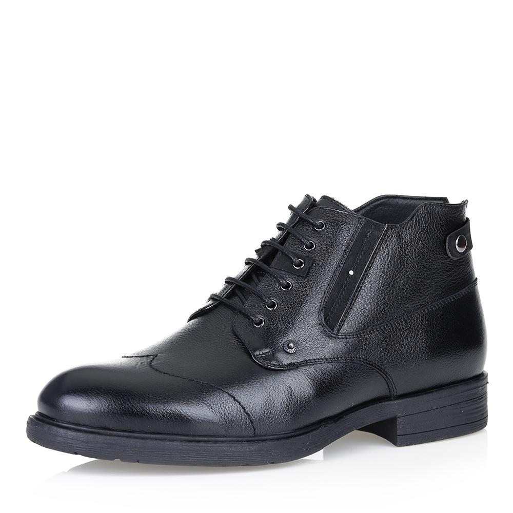 Купить со скидкой Кожаные ботинки чёрного цвета на меху