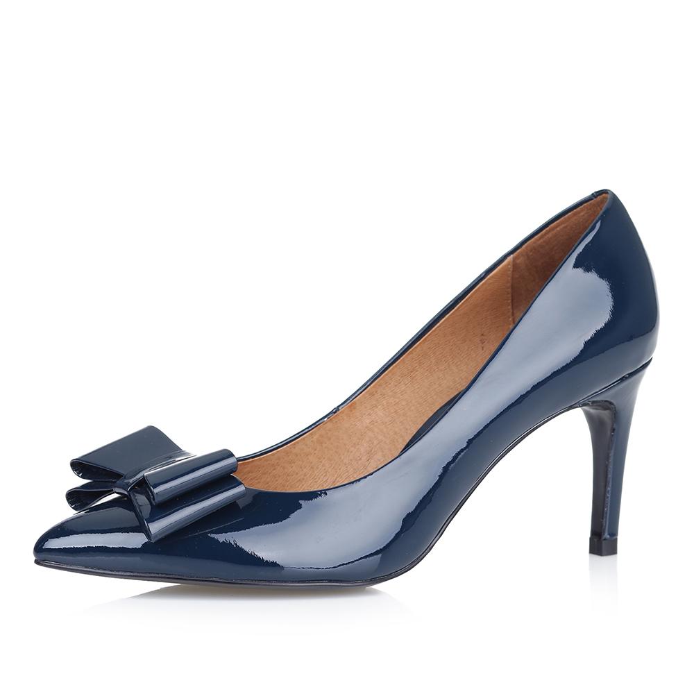 Туфли-лодочки в синем цвете из лакированной кожи