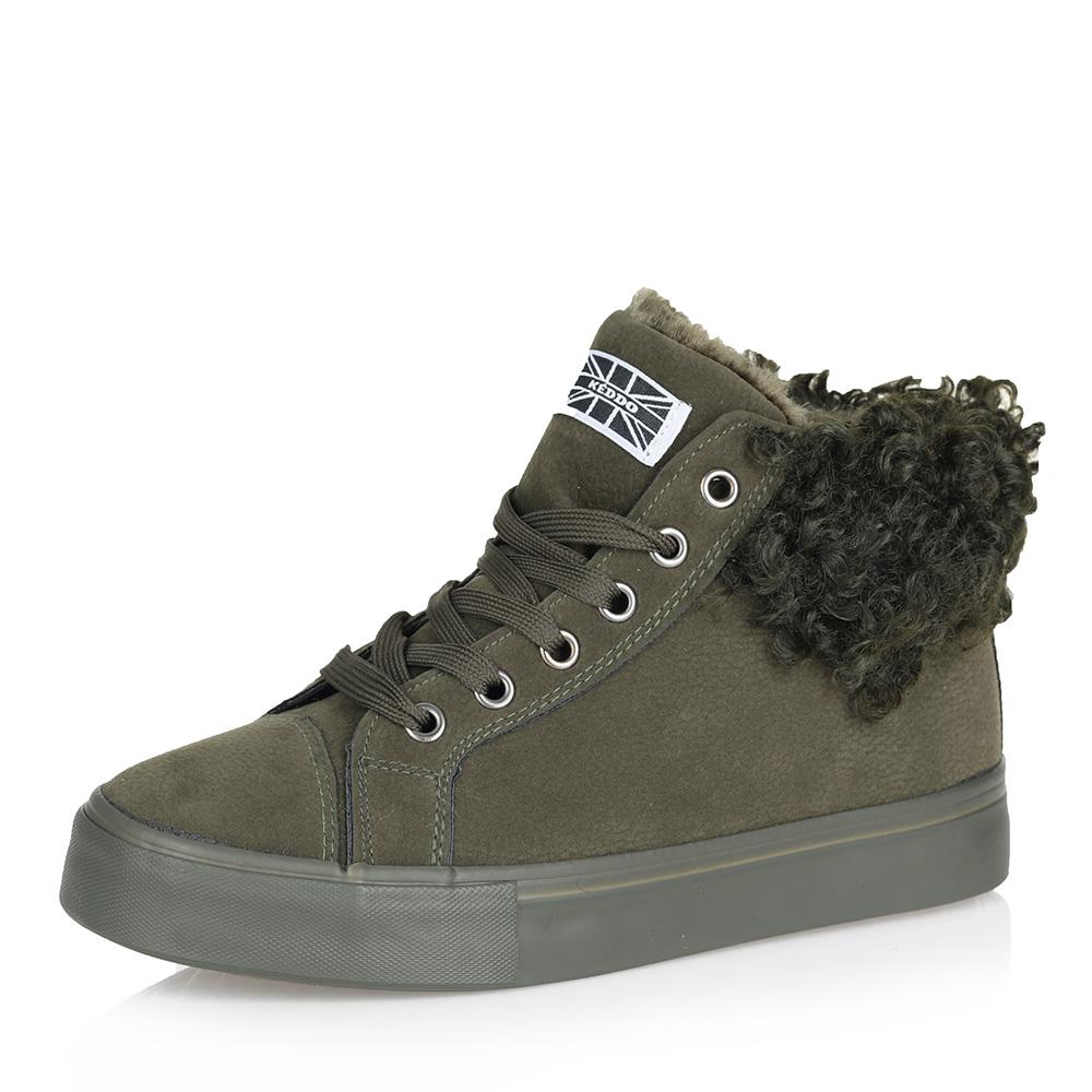Купить со скидкой Зеленые комфортные ботинки из эко замши