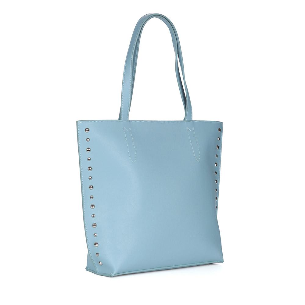 Голубая сумка из экокожи с декором фото