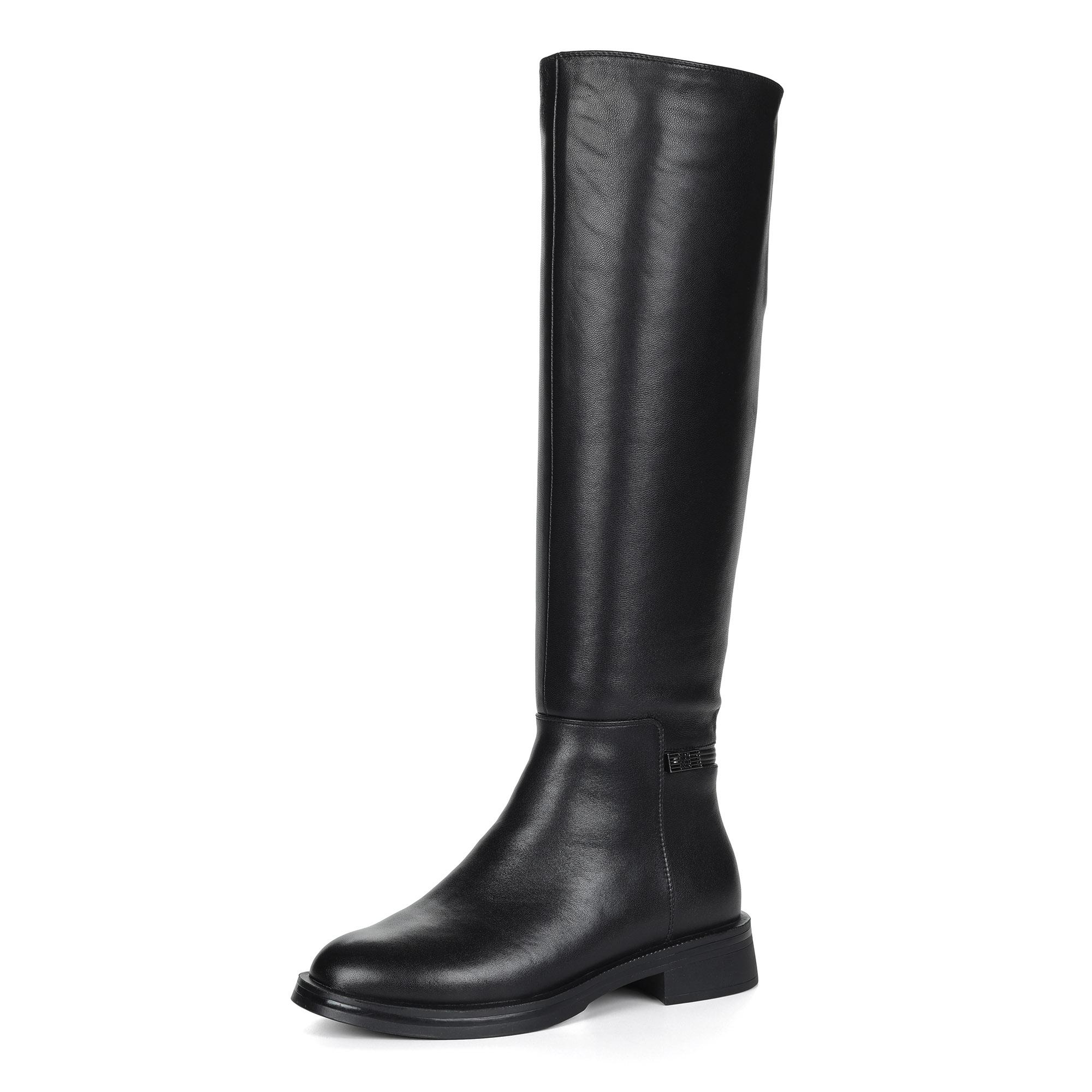 Черные ботфорты из кожи на подкалдке из натуральной шерсти и текстиля на квадратном каблуке