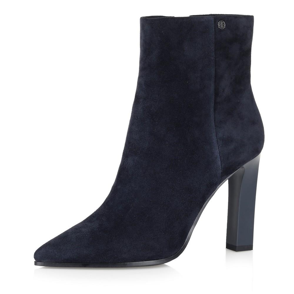 Купить со скидкой Синие велюровые ботинки на высоком каблуке