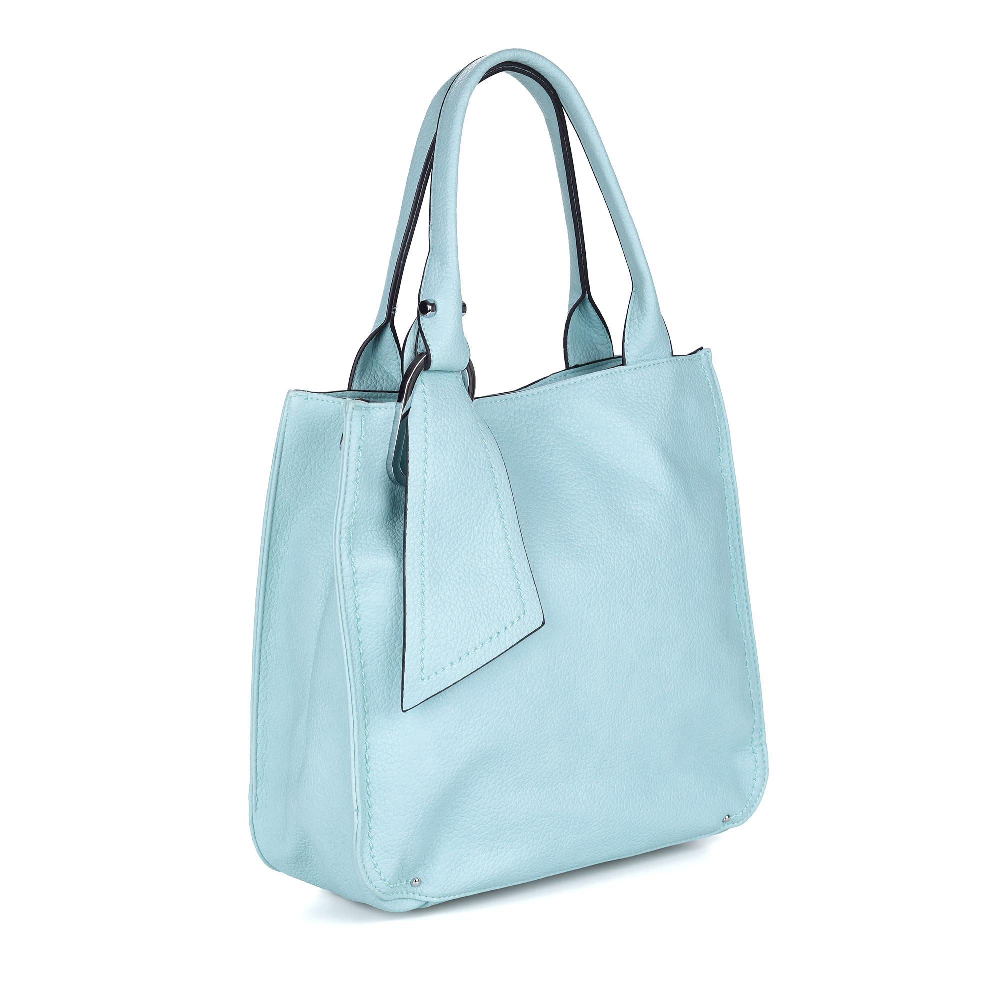 Голубая сумка из экокожи