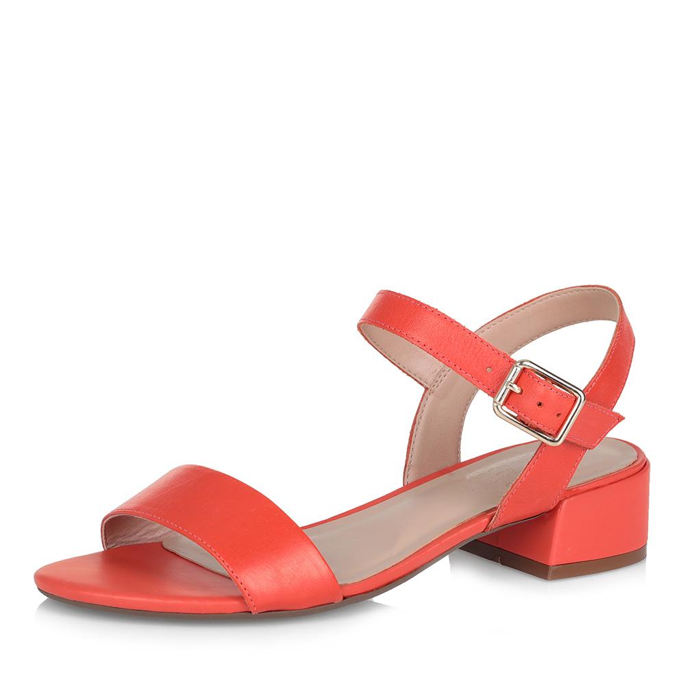 Оранжевые босоножки на низком каблуке фото