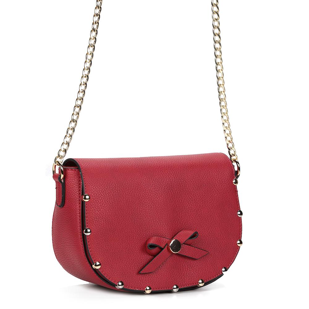 Красная классическая сумка на цепочке с бантиком фото