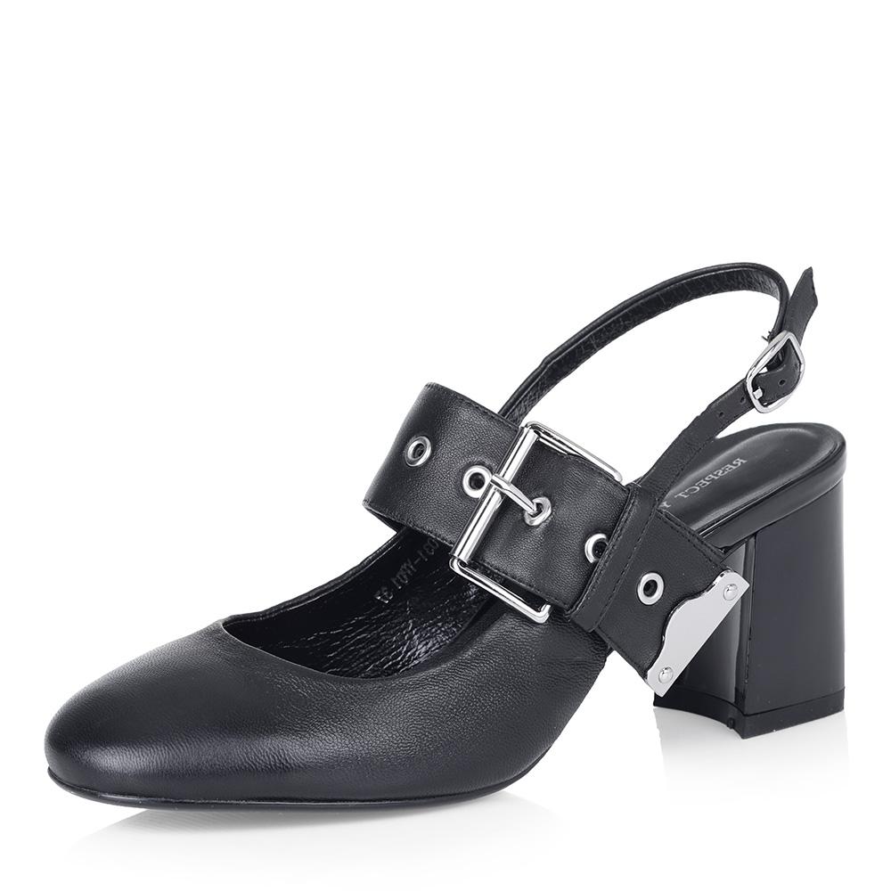 Черные открытые туфли с широким ремешком фото