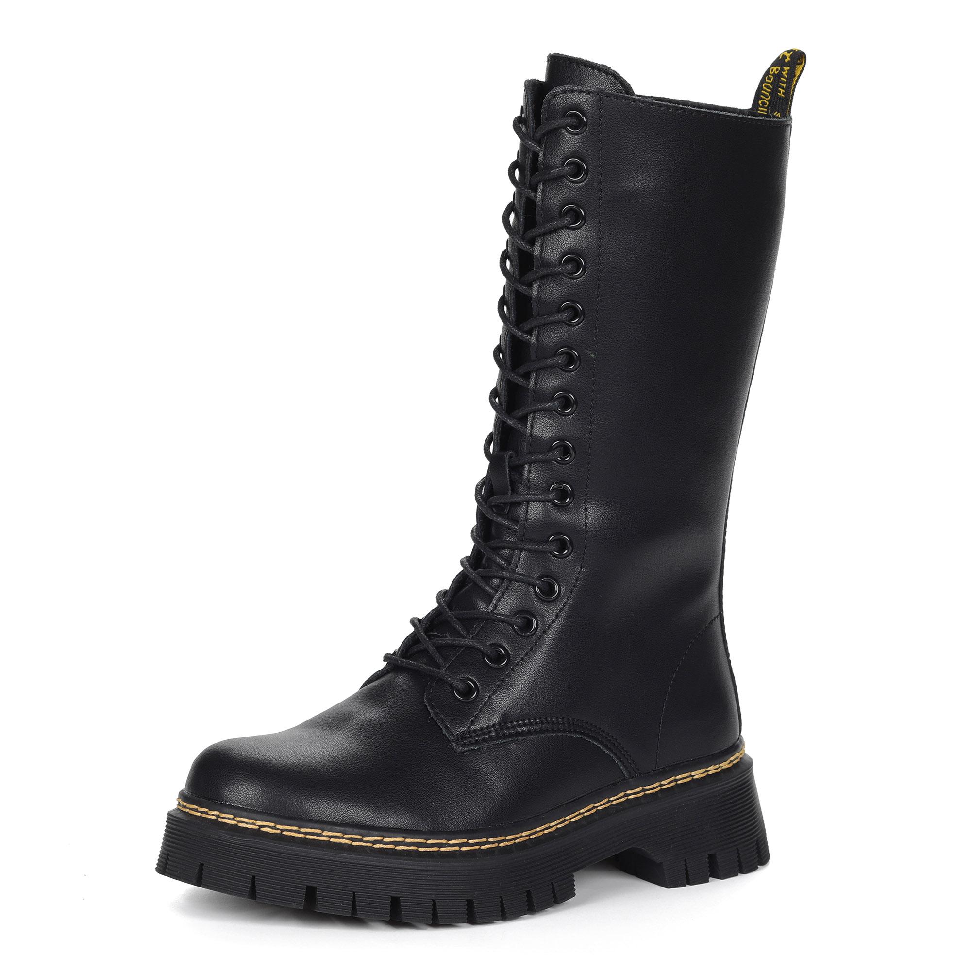 Черные высокие ботинки из кожи на шнурках на подкладке из натуральной шерсти