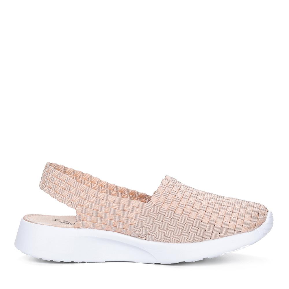 Бежевые текстильные открытые туфли2
