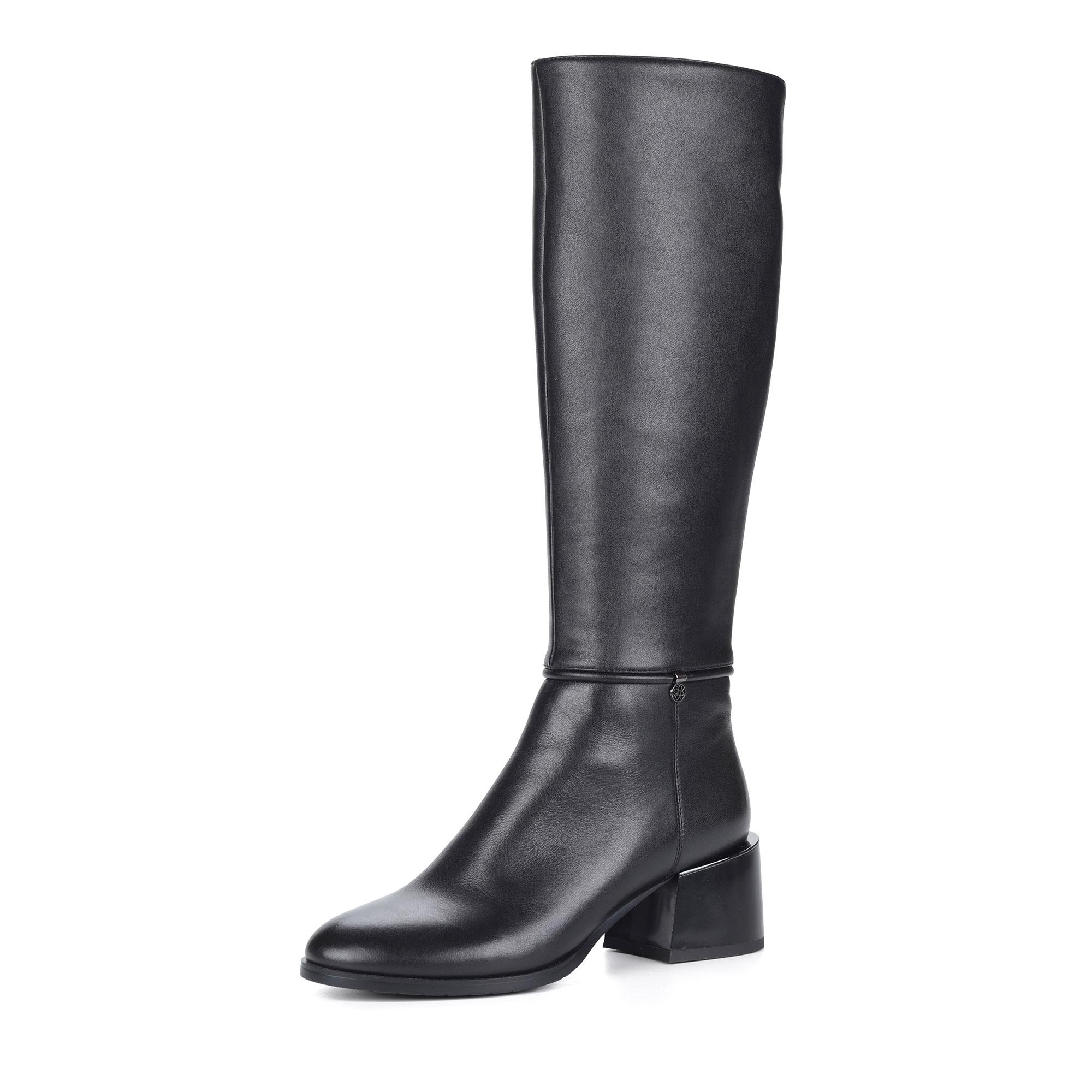 Черные сапоги на устойчивом каблуке