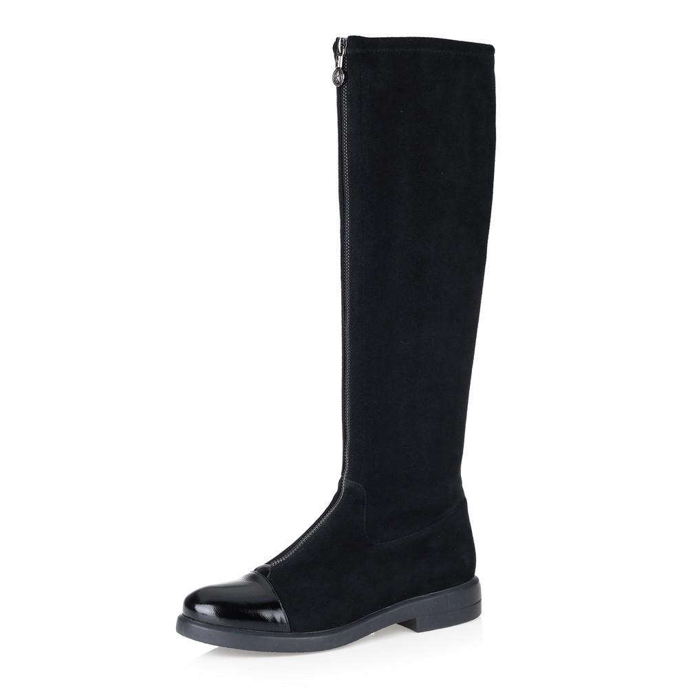 Черные комбинированные сапоги на низком каблуке Respect
