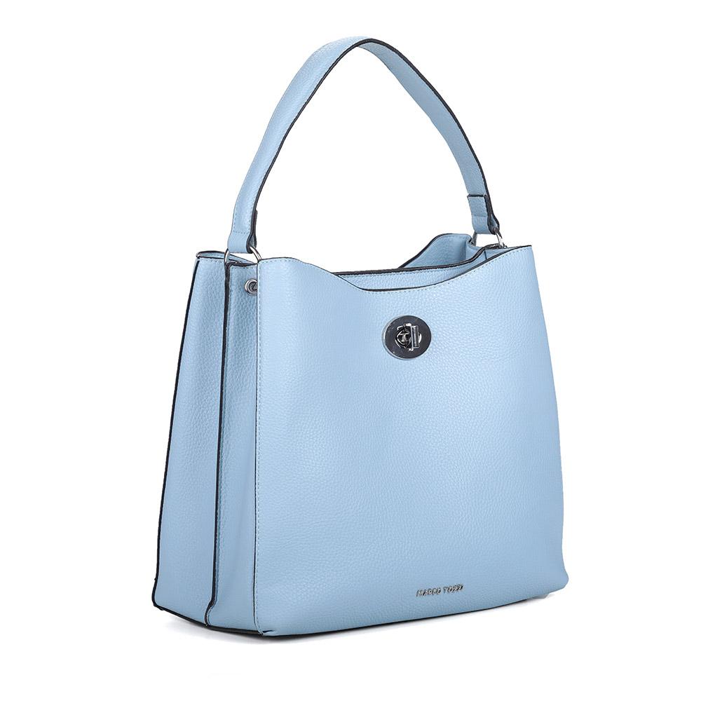 Вместительная голубая сумка из экокожи фото