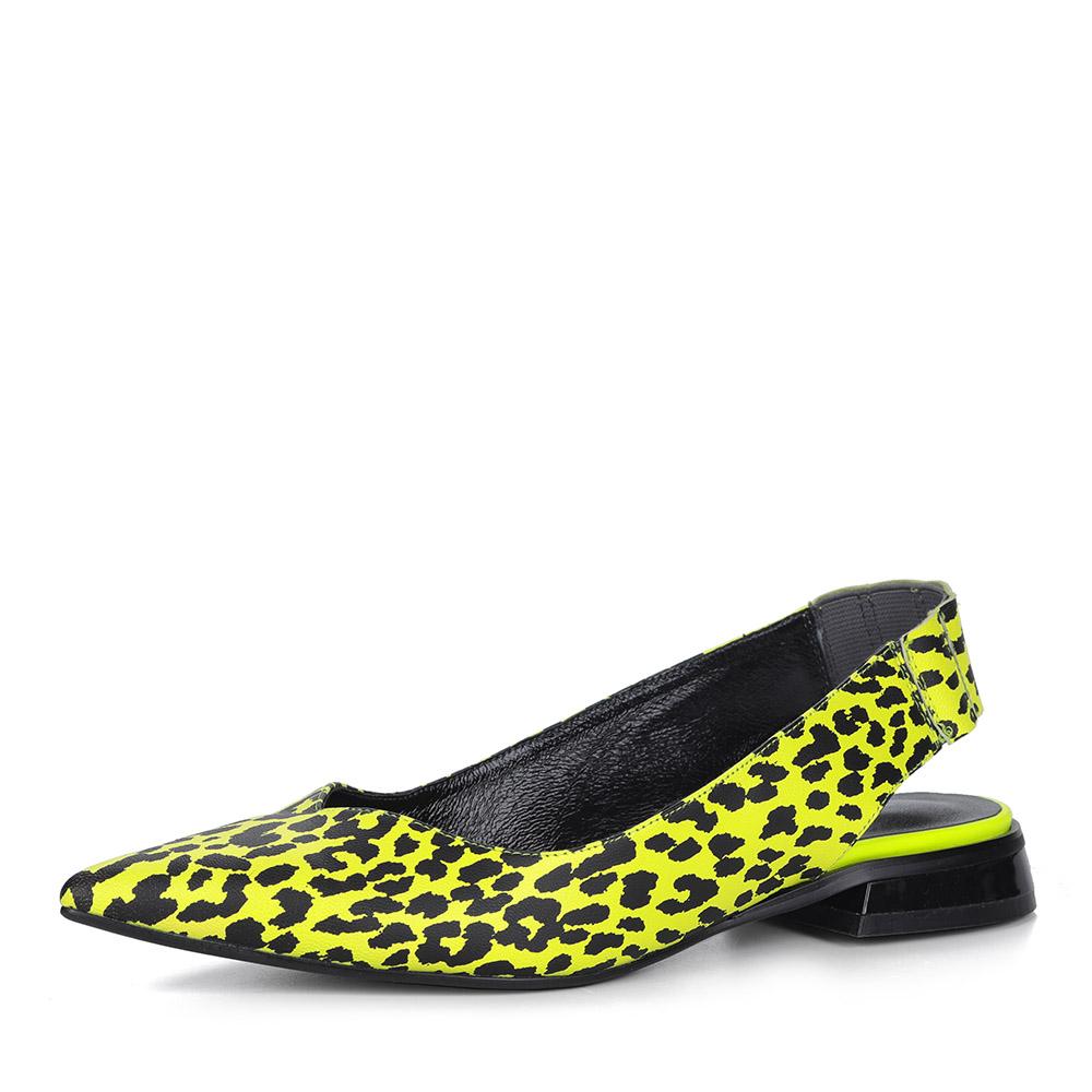 Желтые открытые туфли с анималистичным принтом