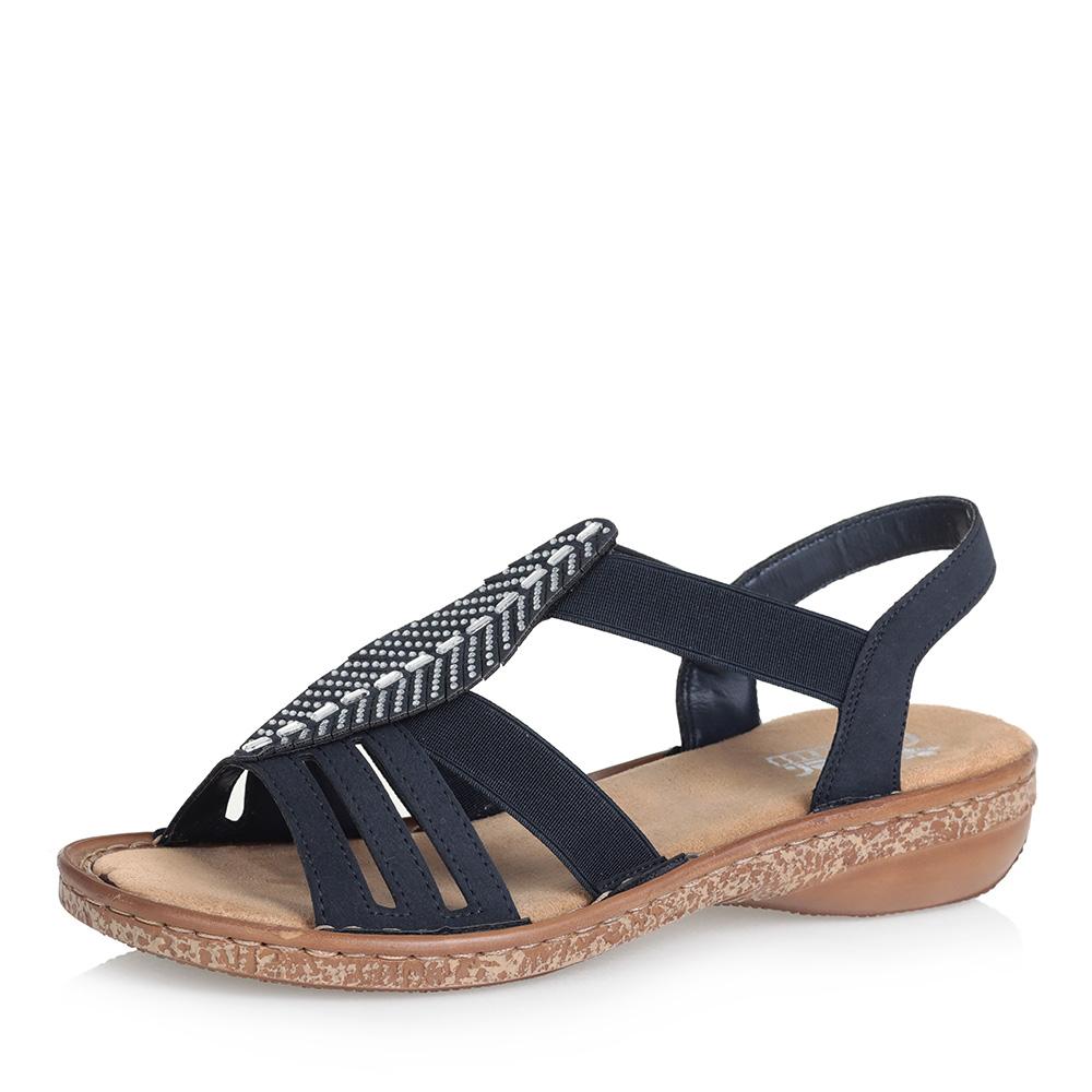 Синие сандалии с декором фото