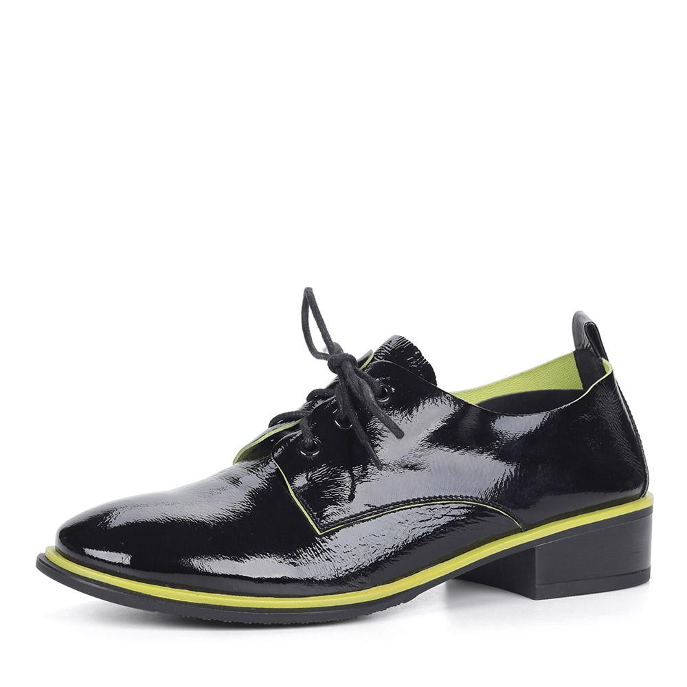 Лакированные черные полуботинки на шнуровке